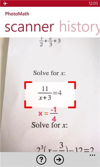 PhotoMath screenshot