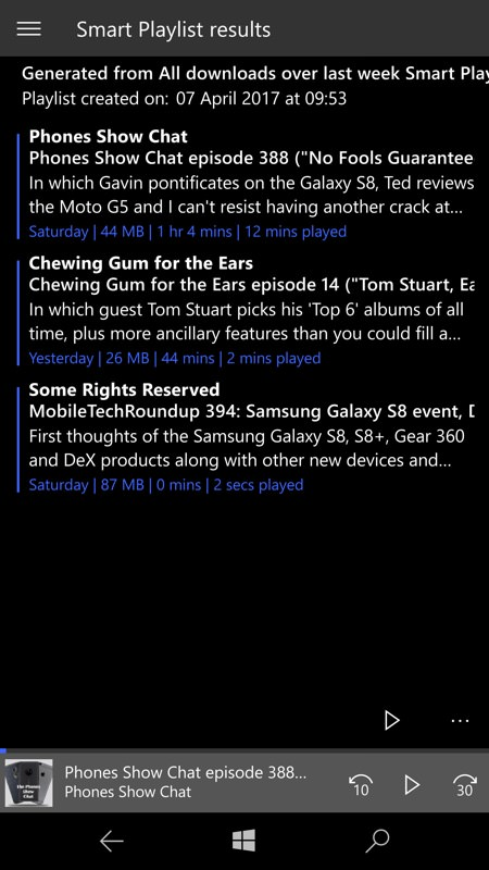 Screenshot, Podcast Lounge UWP beta