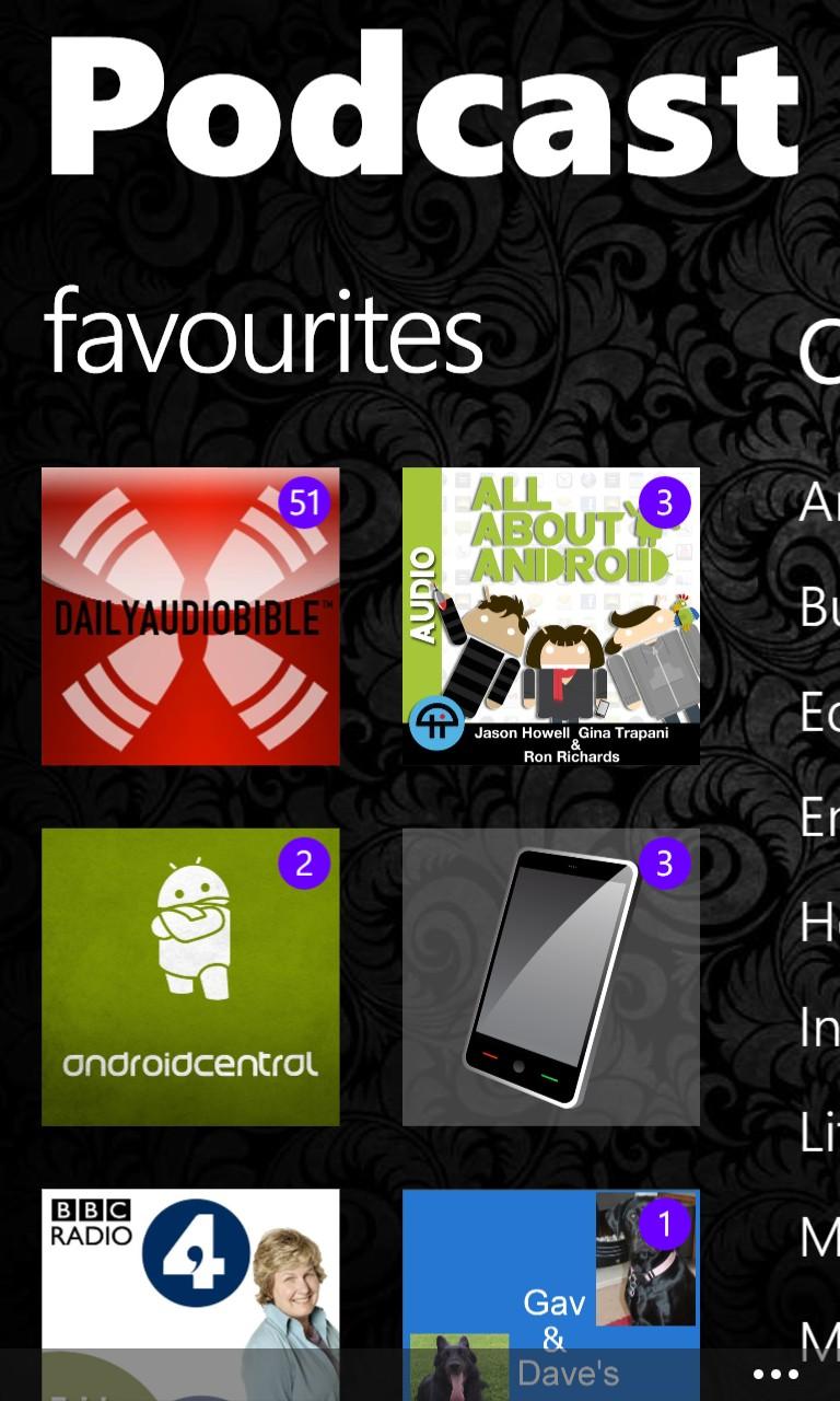 Screenshot, Podcast Lounge