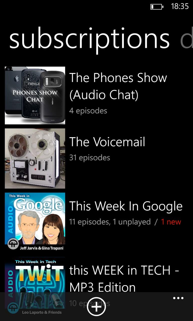 Podcatcher screenshot