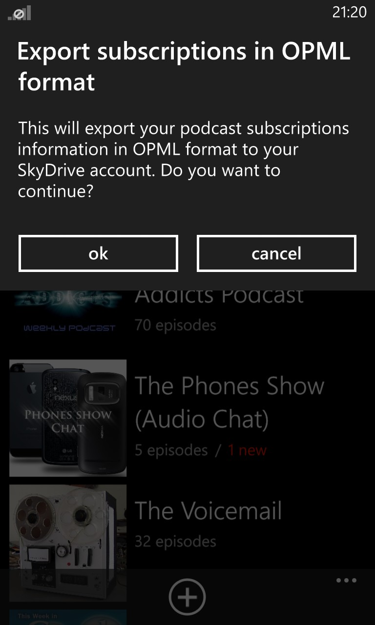 Screenshot, Podcatcher 2.1.0