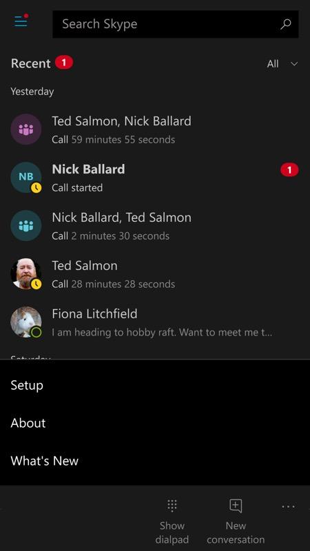 Skype UWP screenshot