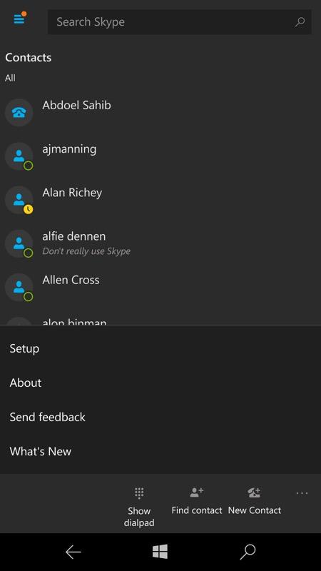 Screenshot, Skype UWP