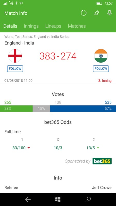 SofaScore LiveScore is comprehensive and number-rich