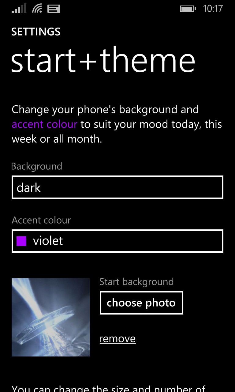 Screenshot, setting Start Backgrounds