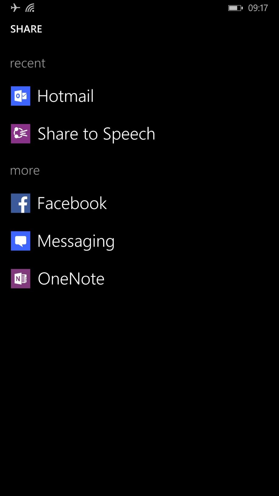 Screenshot, Share to Speech on Windows Phone