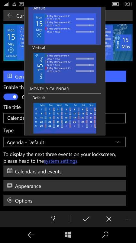 Screenshot, Tiles for Outlook