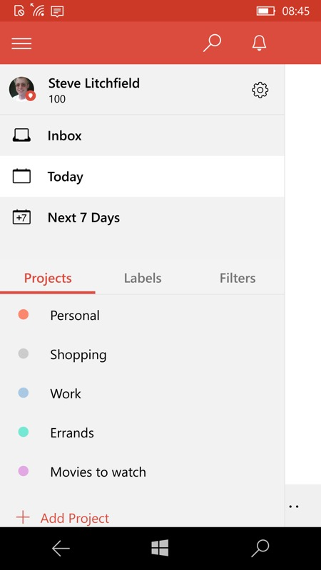 Screenshot, Todoist