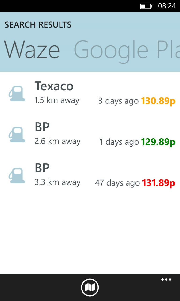 Screenshot, Waze on Windows Phone