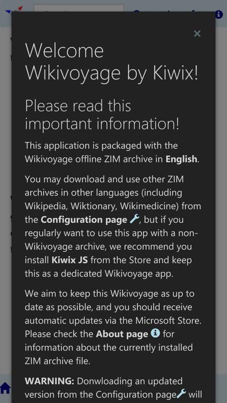 Screenshot, Wikivoyage by Kiwix UWP