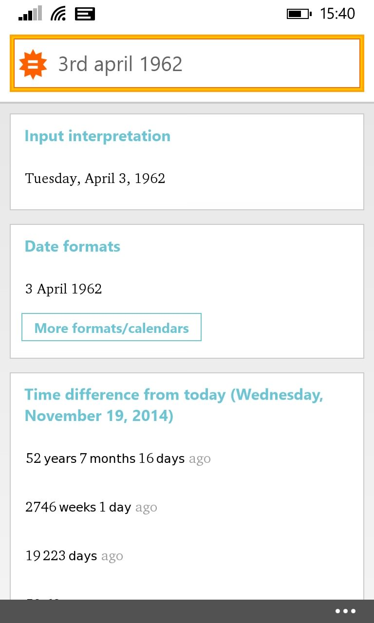 Screenshot, WolframAlpha for Windows Phone