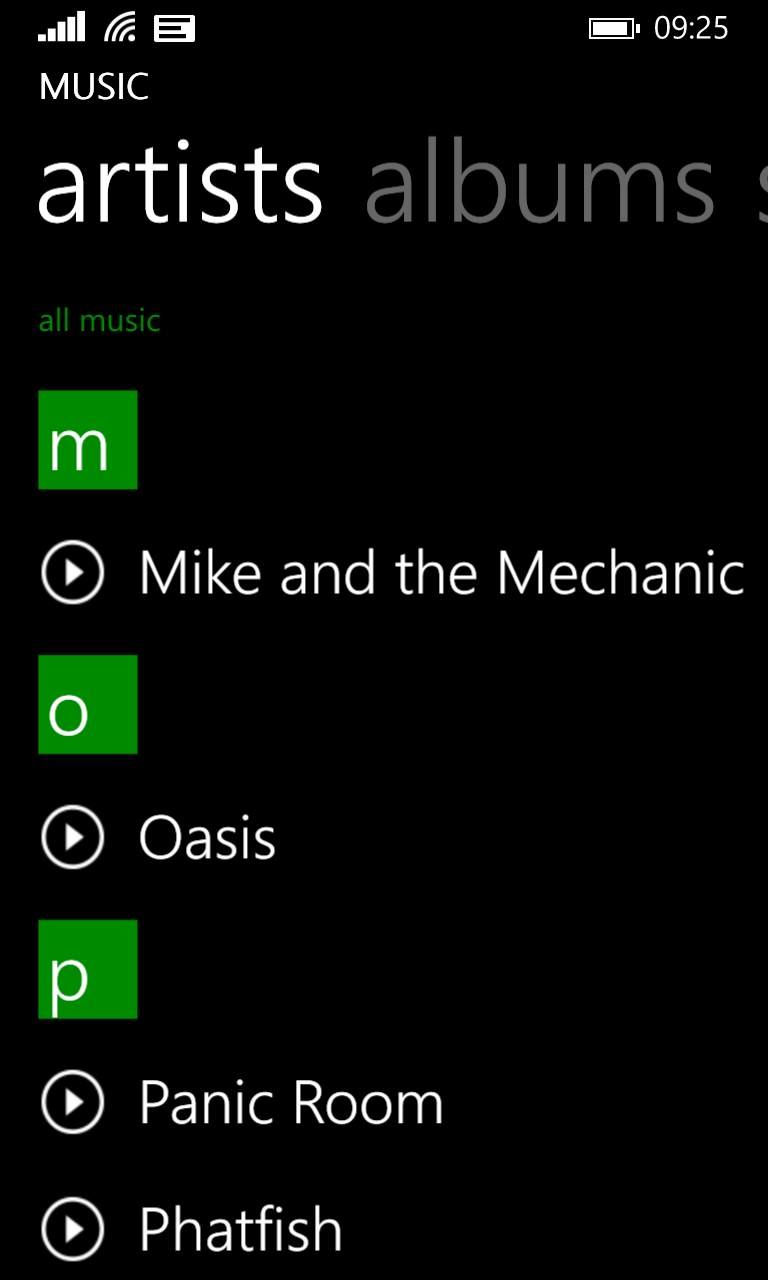 Screenshot, Xbox Music
