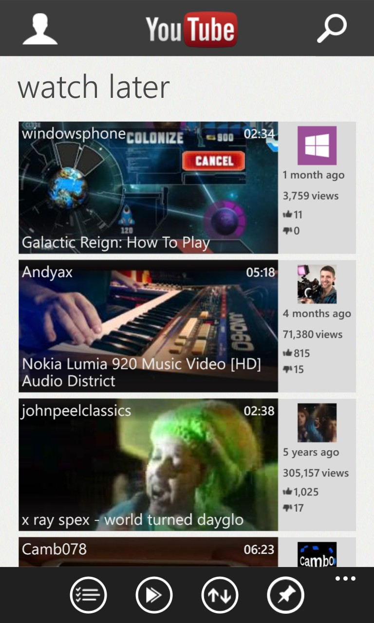 Screenshot, YouTube client