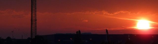 Phone mast at sunset