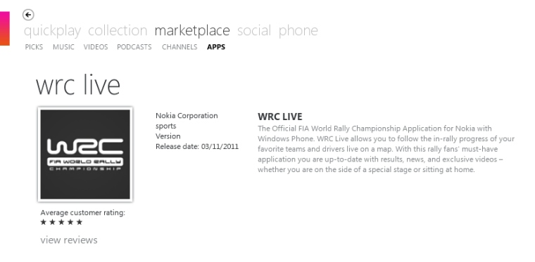 WRC Live on Windows Phone