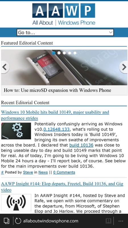 Screenshot, Windows 10 Mobile Build 10149