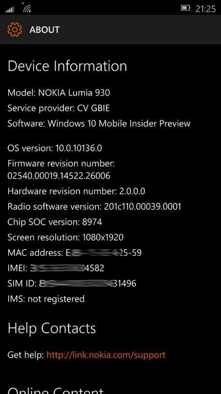 Screenshot, Windows 10 Mobile