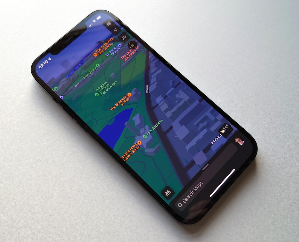 iPhone 12 Pro Max with iOS 15 and Apple Maps
