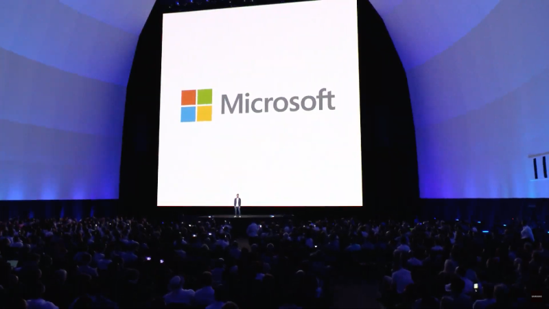 Microsoft logo over stage