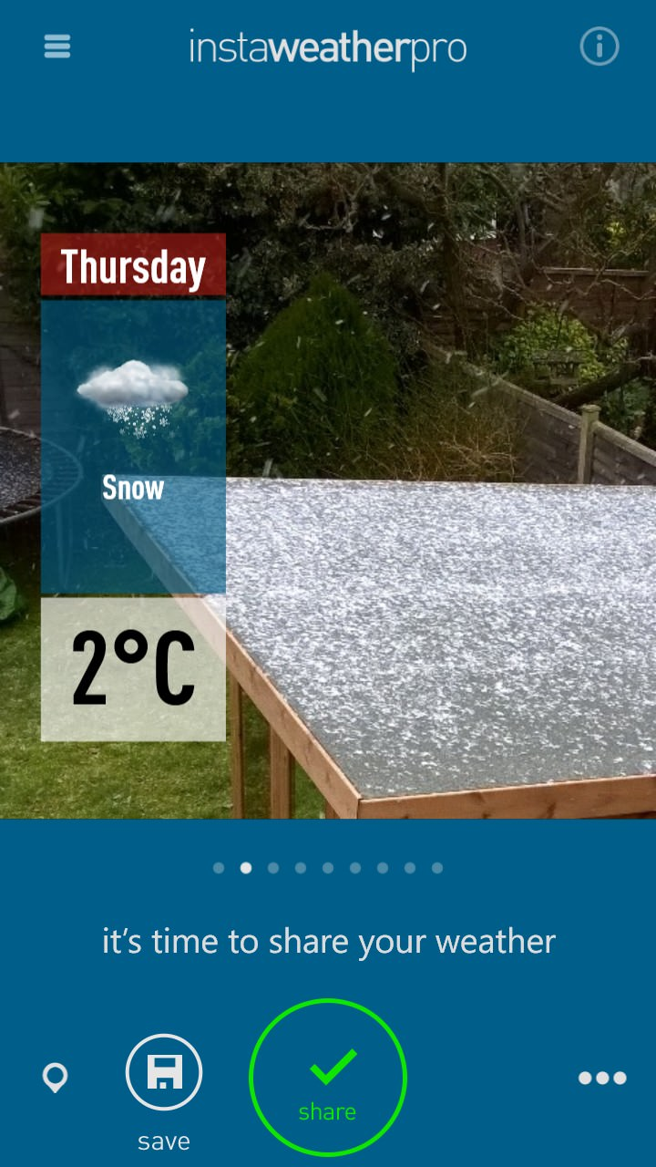 Screenshot, InstaWeather Pro on Windows Phone