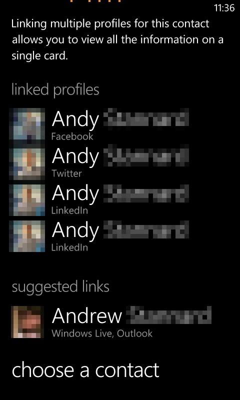 Windows Phone 7 People Hub