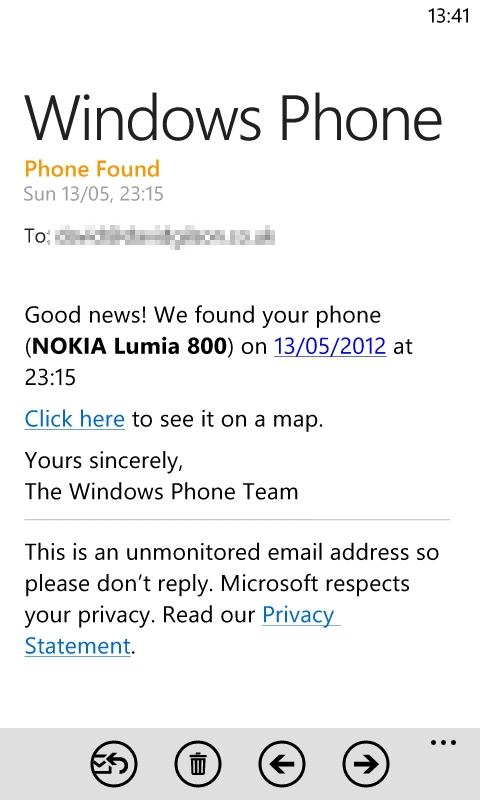 Find My Phone email notifications on Windows Phone