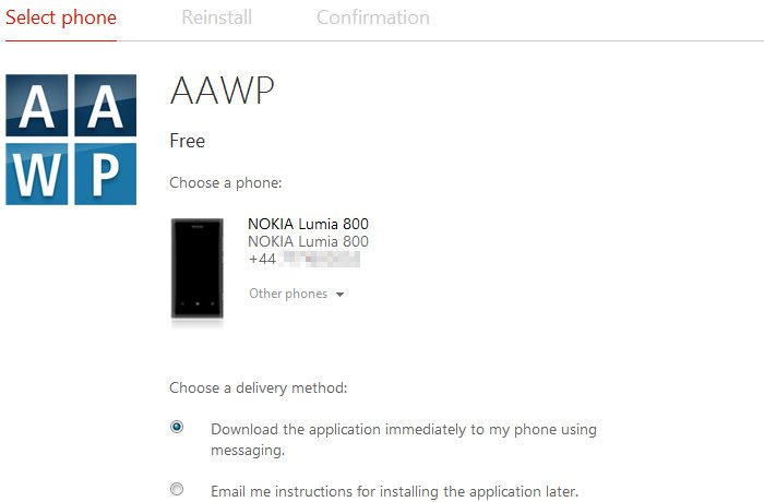 Installing apps via WindowsPhone.com