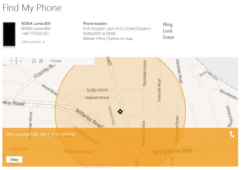 Remotely making your WP7 phone ring