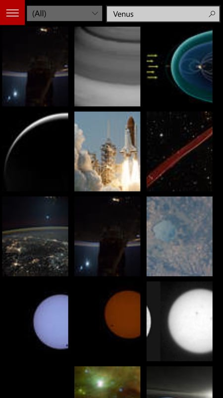 Screenshot, NASA Picture Galleries UWP