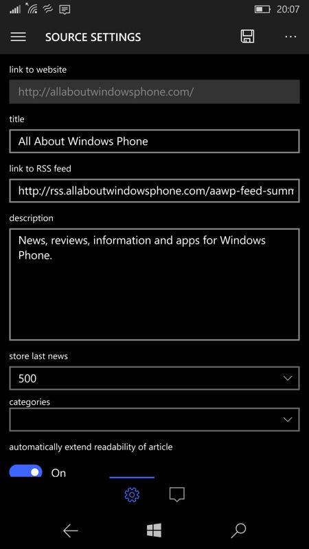 Screenshot, Newsflow UWP