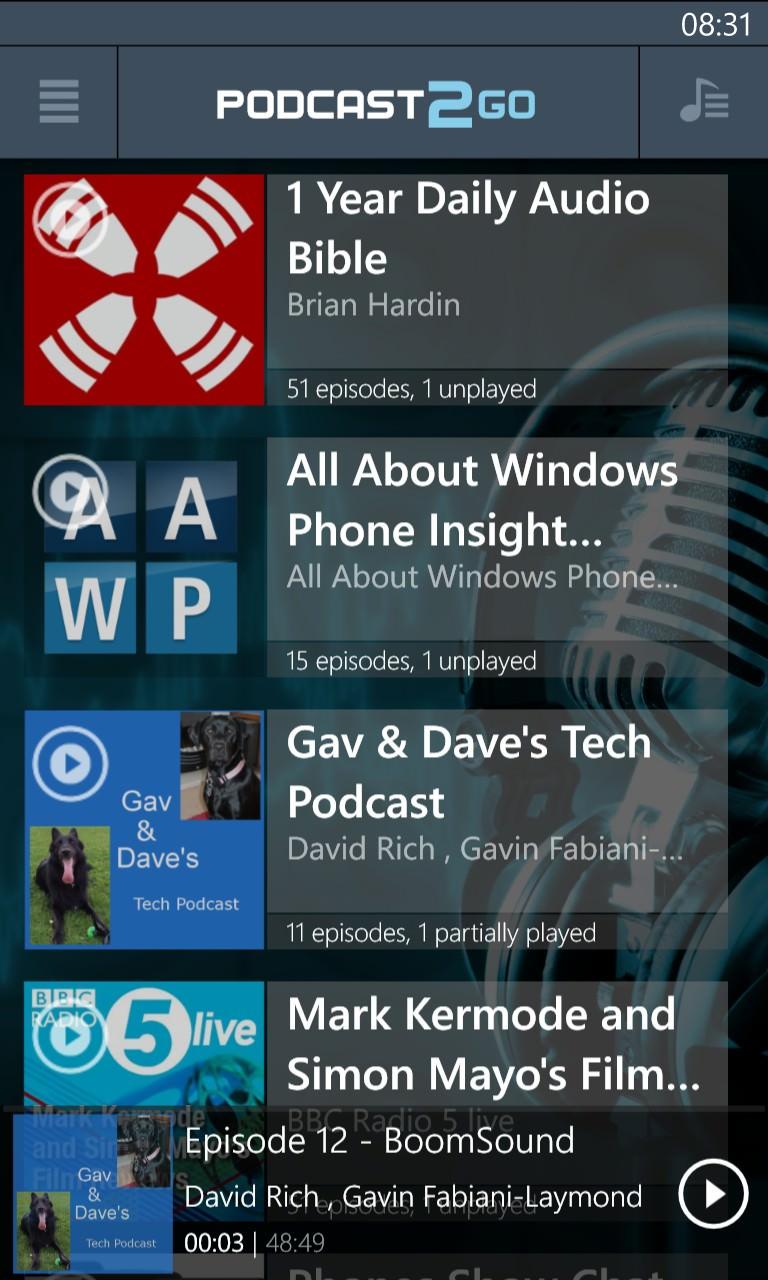 Podcast2Go screenshot
