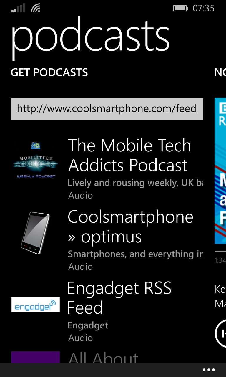 Screenshot, Podcasts from Windows Phone 8.1