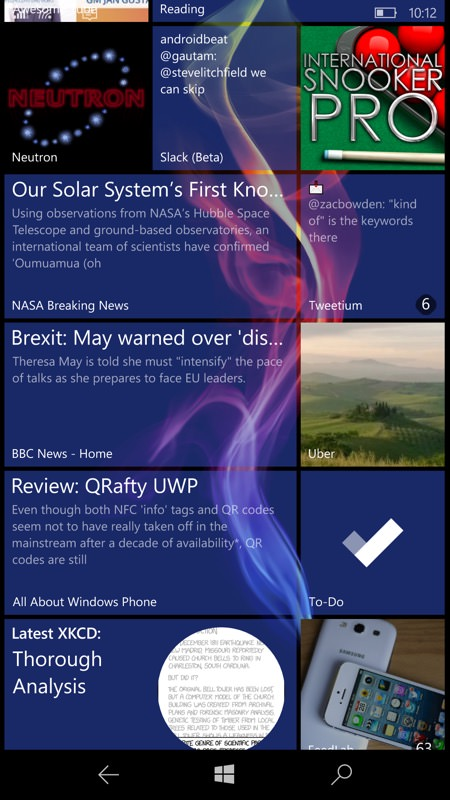 Screenshot, RSS Live Tiles