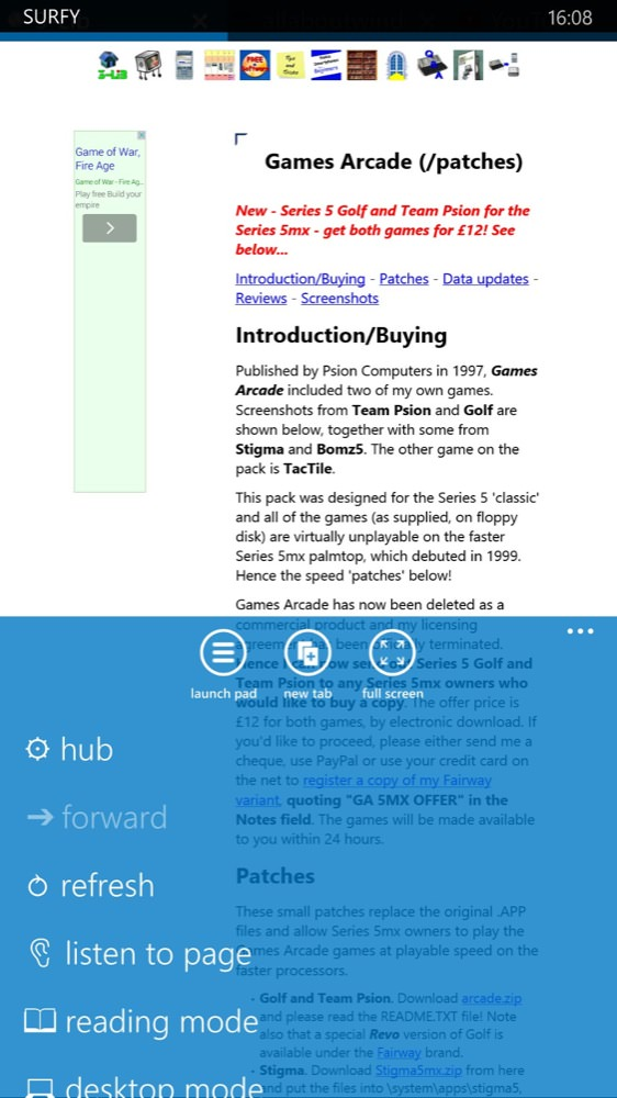 Screenshot, Surfy browser for WP