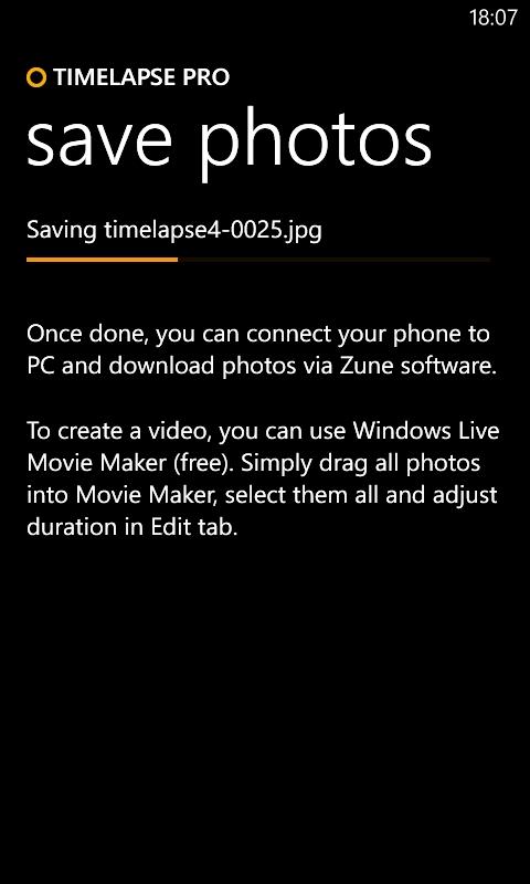 Screen shot, Timelapse Pro