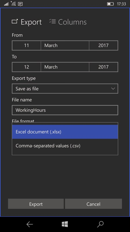 WorkingHours UWP screenshot